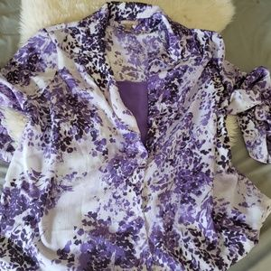 White Stag Tops - White stag purple button up plus size blouse